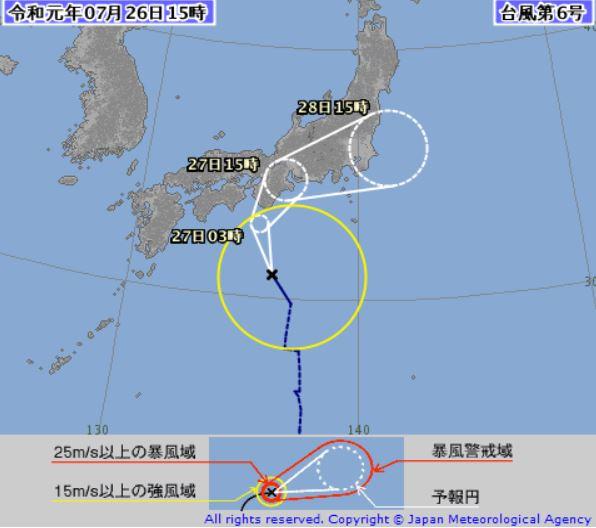 台風6号気象庁進路予想