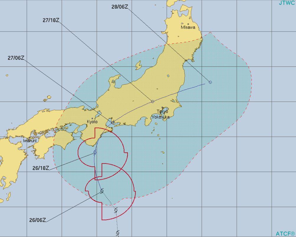 台風6号米軍予想
